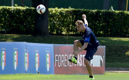 FLORENCE, ITALY - JUNE 08:  Ciro Immobile in action during an Italy training session at Coverciano on June 8, 2015 in Florence, Italy.  (Photo by Claudio Villa/Getty Images)
