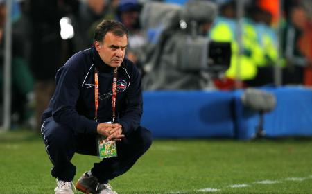 JOHANNESBURG, SOUTH AFRICA - JUNE 28:  Marcelo Bielsa head coach of Chile looks on during the 2010 FIFA World Cup South Africa Round of Sixteen match between Brazil and Chile at Ellis Park Stadium on June 28, 2010 in Johannesburg, South Africa.  (Photo by Clive Rose/Getty Images)