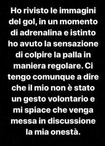 Cutrone storia Instagram post gol braccio vs Lazio