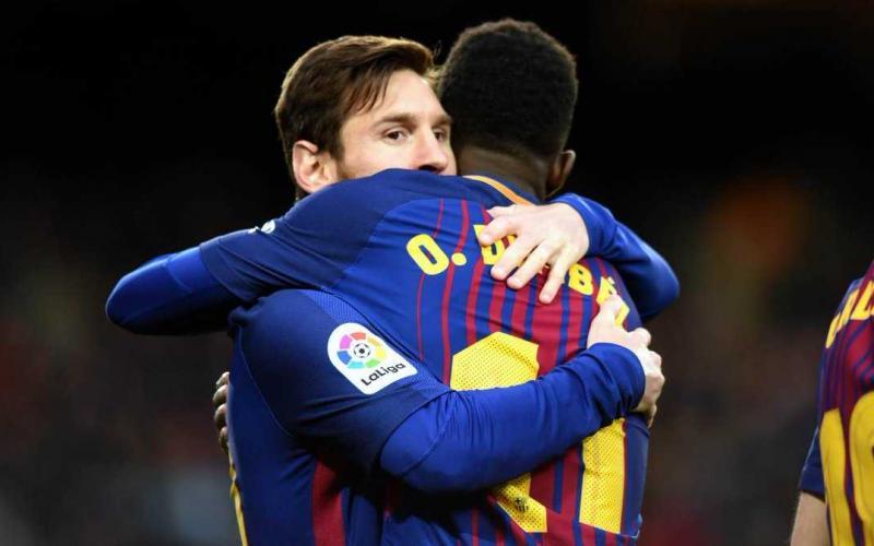 Messi e Dembele Foto Barcellona Twitter