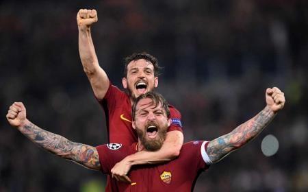 De Rossi e Florenzi vs Barcellona Foto Champions League Twitter