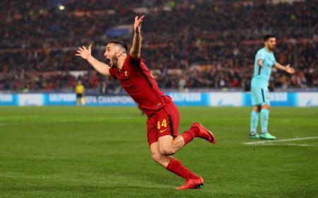 Manolas gol vs Barcellona Foto Roma Twitter