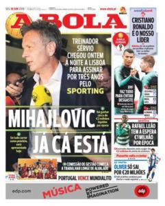 A Bola prima pagina MIhajlovic Sporting