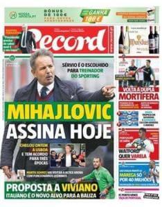 Record prima pagina MIhajlovic Sporting