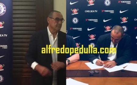 Sarri in sede e firma Chelsea