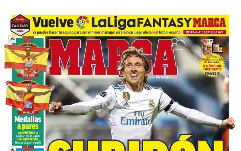 Marca prima pagina Modric 11 agosto 2018
