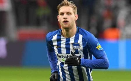 Arne Maier ( Hertha BSC Berlin ) 10.02.2018 --- Fussball --- 1. Bundesliga --- Bayer 04 Leverkusen vs Hertha BSC Berlin Foto : Thomas Thienel / Eibner Leverkusen / BayArena *** Arne Maier Hertha BSC Berlin 10 02 2018 football 1 Bundesliga Bayer 04 Leverkusen vs Hertha BSC Berlin photo Thomas Thienel EIBNER Leverkusen BayArena Copyright: xThomasxThienelx/Eibner-Pressefotox EP_ttl