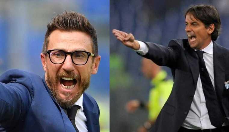 Di Francesco e Inzaghi Foto Roma e Lazio Twitter