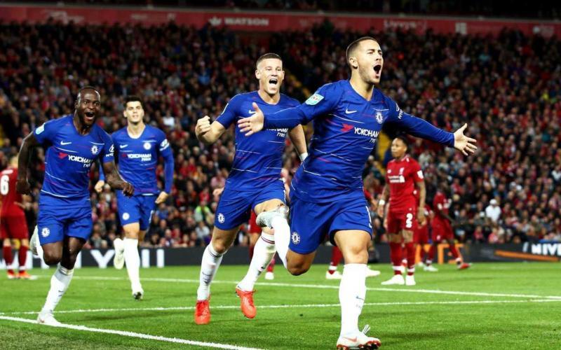 Hazard gol vs Liverpool Coppa Chelsea Twitter