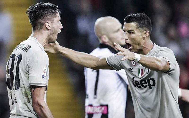 Bentancur e Ronaldo vs Udinese Foto Juventus Twitter