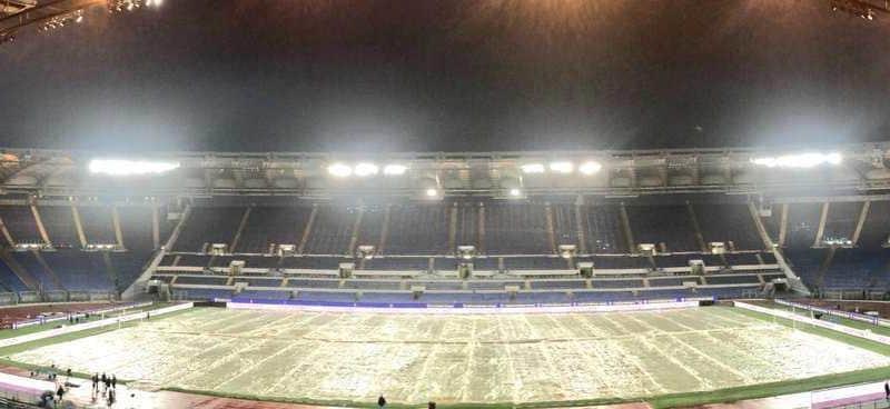 Olimpico pioggia Foto Lazio Twitter