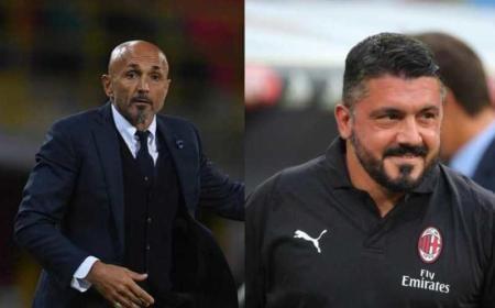 Spalletti e Gattuso Foto Inter e Milan Twitter