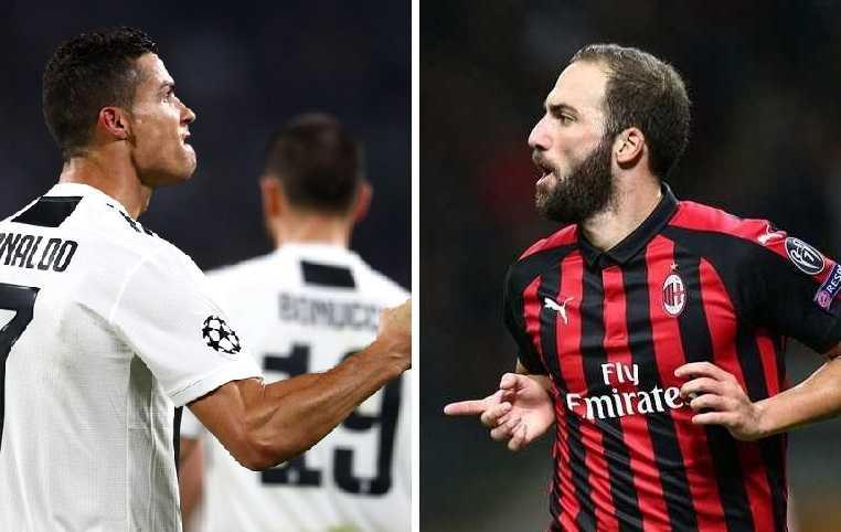 Ronaldo e Higuain Uefa e Milan Twitter