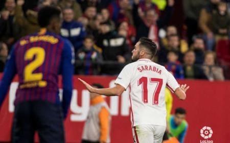 Sarabia gol vs Barcellona Foto Siviglia Twitter