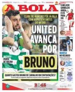 Bruno Fernandes A Bola prima pagina 24 febbraio 2019