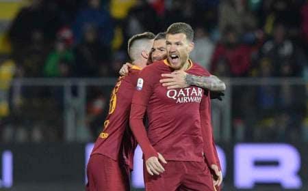 Dzeko gol vs Frosinone Foto Roma Twitter
