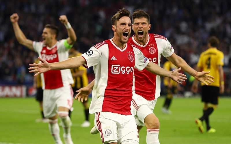 AMSTERDAM, NETHERLANDS - SEPTEMBER 19:  Nicolas Tagliafico of Ajax celebrates after scoring his team's first goal during the Group E match of the UEFA Champions League between Ajax and AEK Athens at Johan Cruyff Arena on September 19, 2018 in Amsterdam, Netherlands.  (Photo by Dean Mouhtaropoulos/Getty Images)