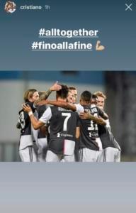 Juventus |  Ronaldo carica i compagni sui social dopo il 3-3 con il Sassuolo