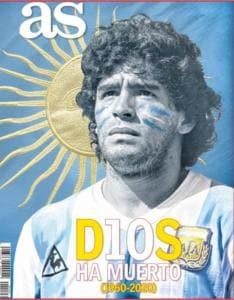 """Morte Maradona, la copertina di AS: """"D10S è morto"""""""