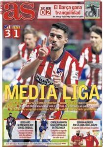 """Le aperture dei giornali spagnoli: """"L'Atletico vince e chiude il girone di andata a +7"""""""