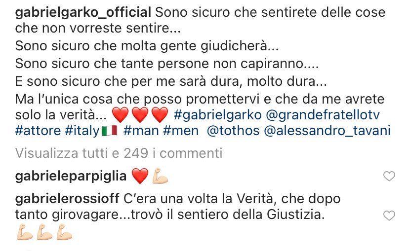 """Gabriel Garko: """"Al GF Vip dirò tutta la verità e molti giudicheranno"""", Gabriele Rossi commenta"""