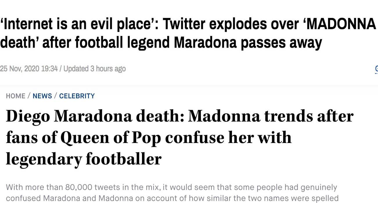 """""""Madonna è morta"""", migliaia di fan nel panico scambiano il nome della popstar con quello di Maradona"""