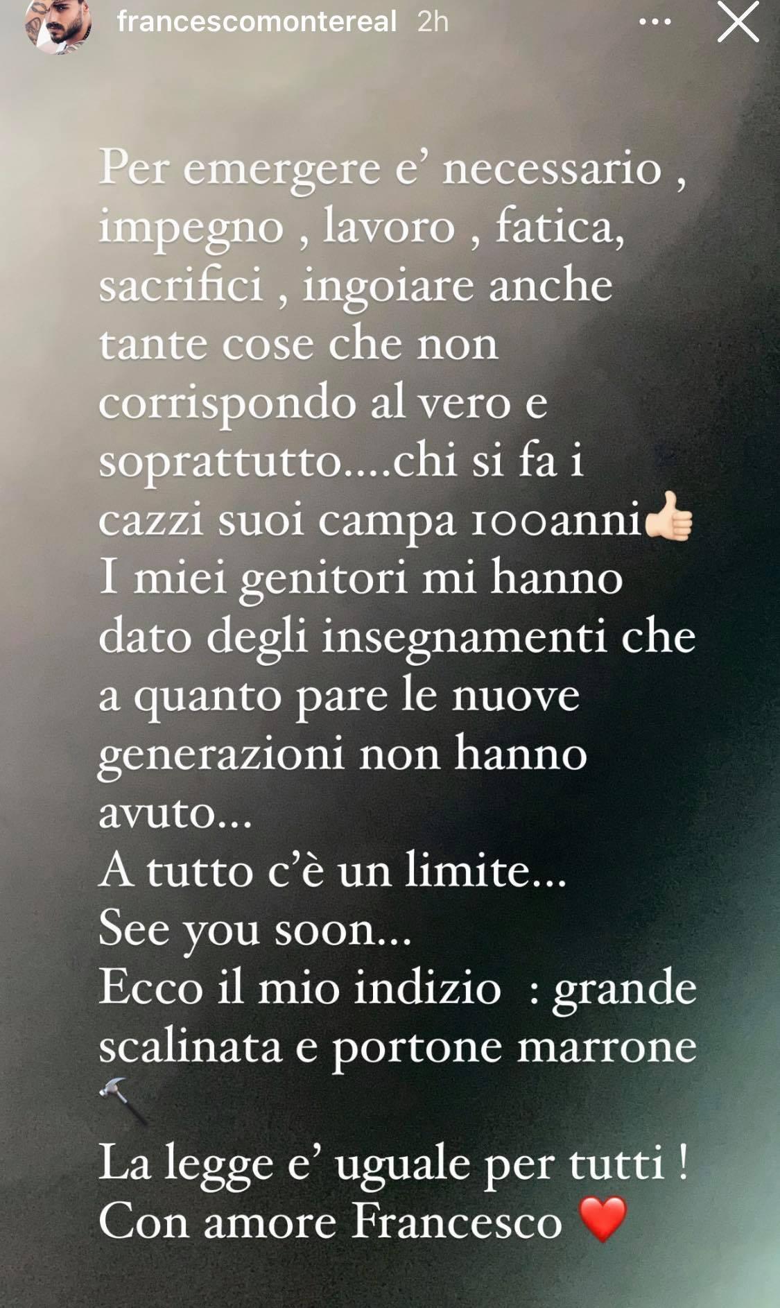 """Francesco Monte sbotta per le parole di Tommaso Zorzi: """"A tutto c'è un limite"""""""