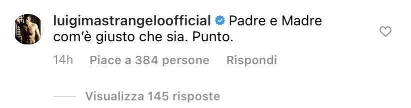 """Luigi Mastrangelo commenta un post della Meloni sulle famiglie arcobaleno: """"Padre e madre com'è giusto che sia"""""""