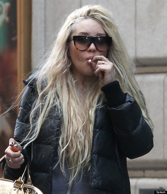Amanda Bynes seen smoking a hand rolled cigarette in New York
