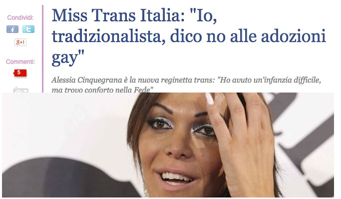 miss italia trans 2014 no adozioni gay matrimoni gay