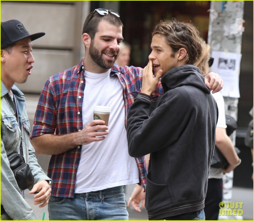Zachary Quinto and his boyfriend Miles McMillan kissing in NYC