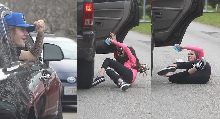 Justin Bieber fan girl falls out car