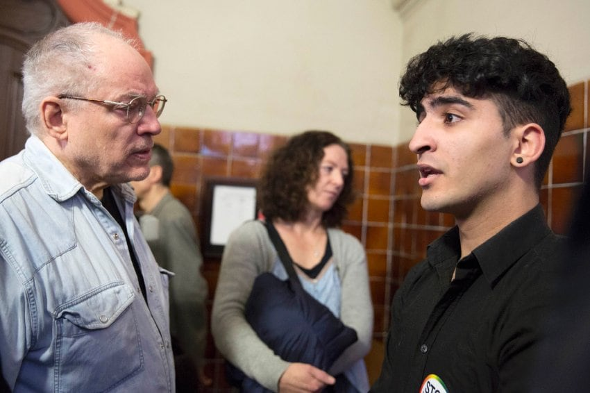 Young homosexual Lebanese immigrant identified only by his first name Nasser, speaks to German filmmaker and gay activist von Praunheim in the district court Tiergarten in Berlin