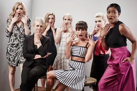 """SAN DIEGO, CA - JULY 11:  (L-R) Actresses Skyler Samuels, Jamie Lee Curtis, Billie Lourd, Emma Roberts, Lea Michele, Abigail Breslin, and Keke Palmer of """"Scream Queens"""" pose for a portrait at the Getty Images Portrait Studio Powered By Samsung Galaxy At Comic-Con International 2015 at Hard Rock Hotel San Diego on July 11, 2015 in San Diego, California.  (Photo by Maarten de Boer/Getty Images)"""