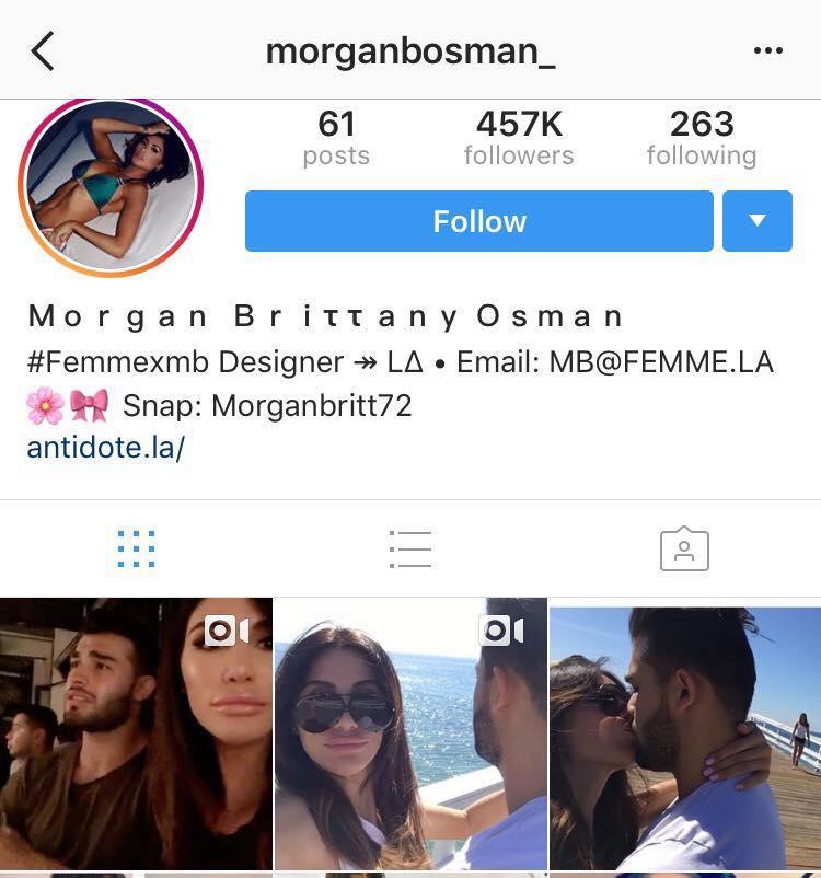 42b25233869 La modella Morgan Osman pubblica foto e video mentre bacia il ...