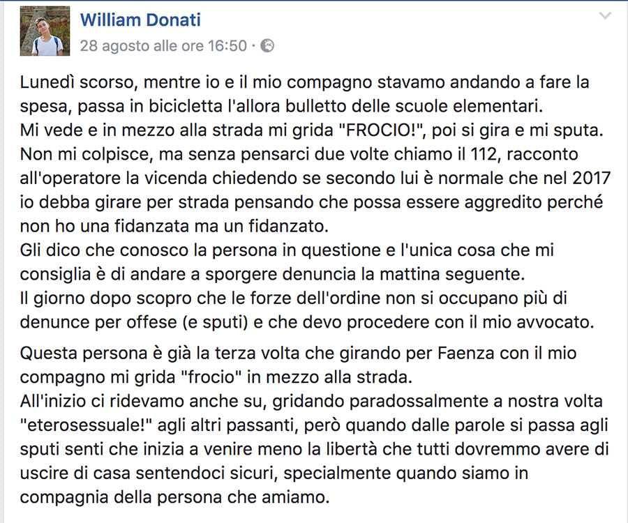 william omofobia faenza