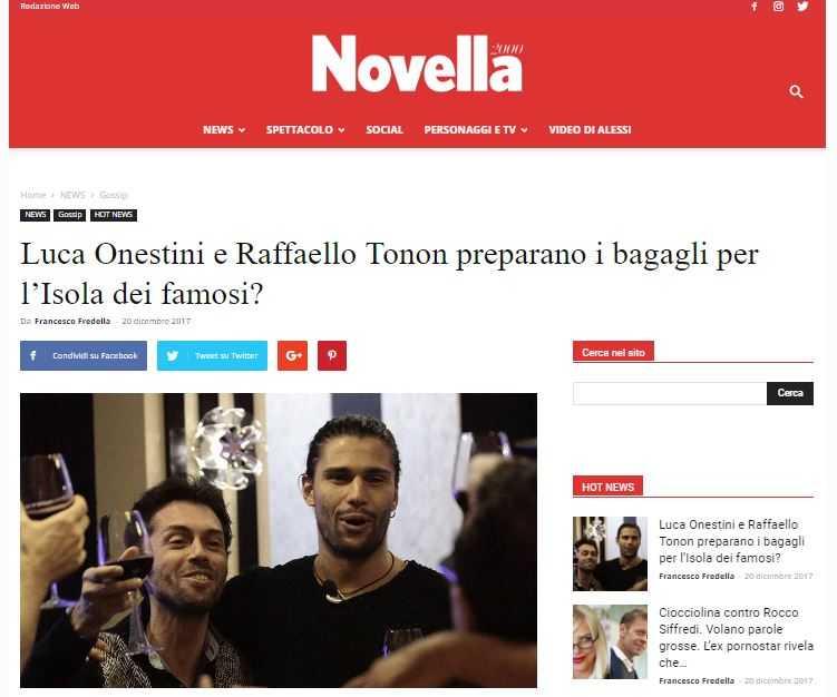 Luca Onestini e Raffaello Tonon Isola dei Famosi