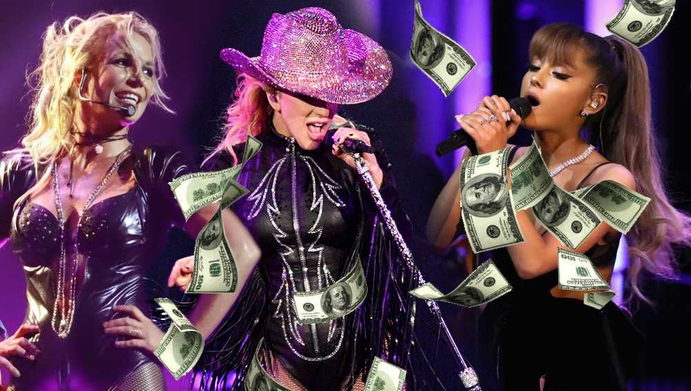 highest grossing female tour pop gaga britney ariana