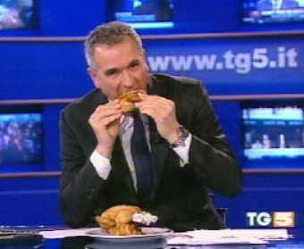 Lamberto Sposini Mangia Pollo Tg5
