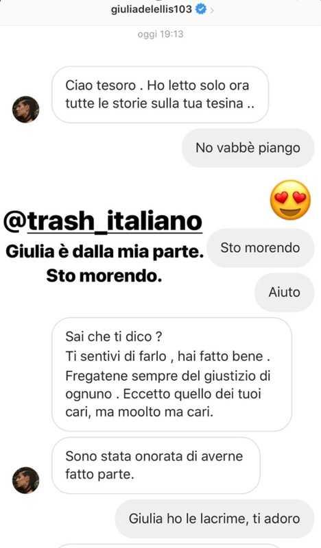 Giulia De Lellis risposta tesina