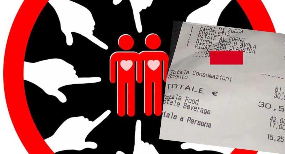 omofobia scontrino cameriere locale ragazzi gay