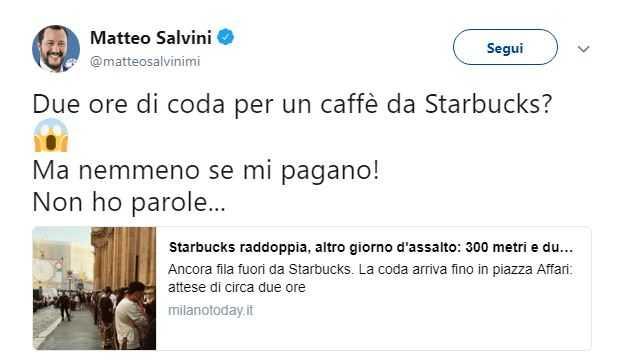 Matteo Salvini Starbucks