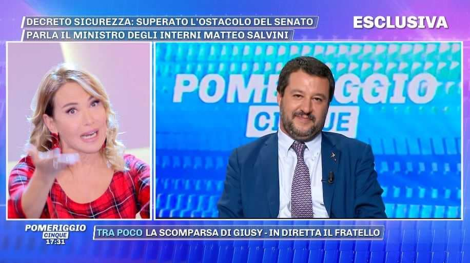Matteo Salvini Pomeriggio Cinque Barbara d'Urso (1)