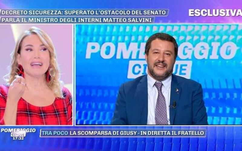 Matteo Salvini Pomeriggio Cinque Barbara d'Urso (2)