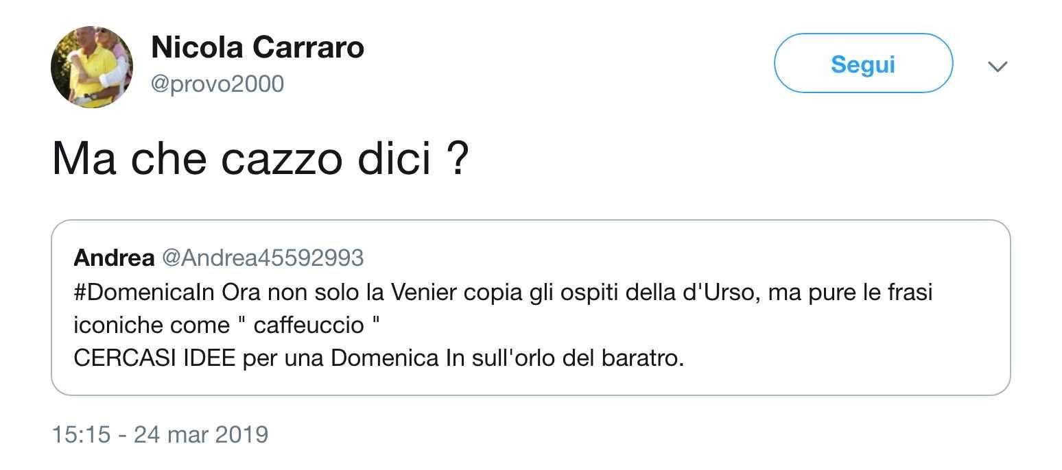 nicola carraro twitter mara venier
