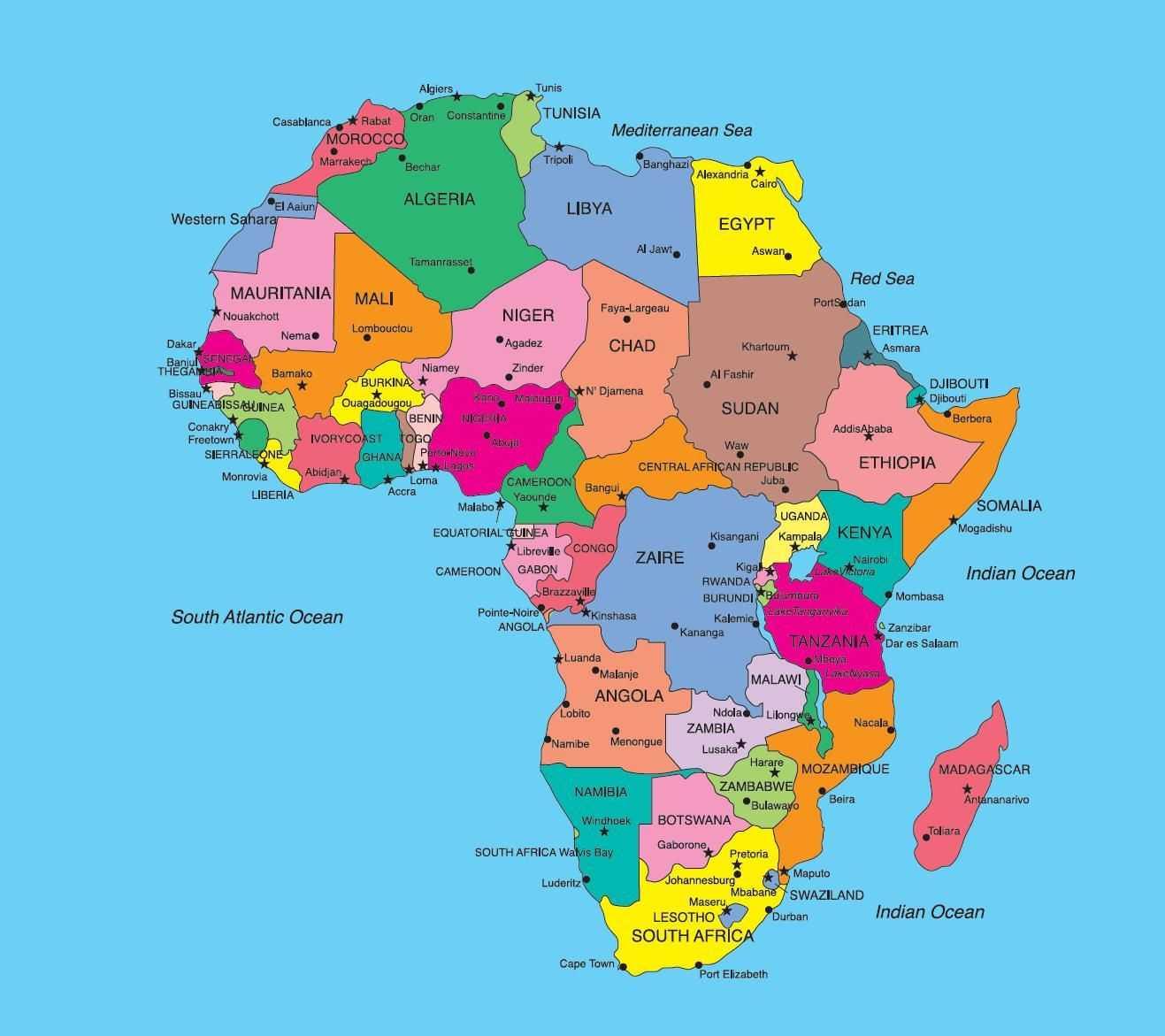 cartina politica africa
