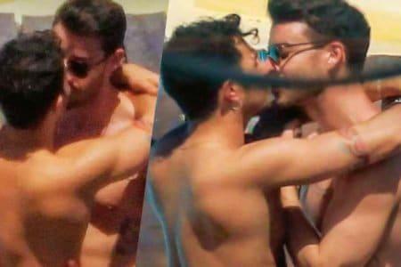 marco carta sirio baci gay coppia mykonos ibiza
