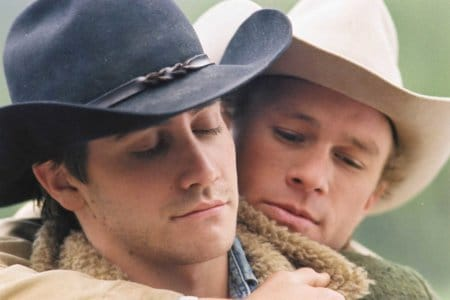 FREELANCE  060130060024.tif Jake Gyllenhaal as Jack Twist and Heath Ledger as Ennis Del Mar (left to right) seen here embracing in a scene from the film BROKEBACK MOUNTAIN. KIMBERLY FRENCH--FOCUS FEATURES