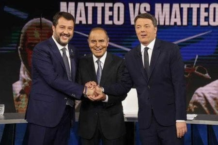 Italian Lega party's Secretary Matteo Salvini (L) with Leader of Italian party ?Italia Viva?, Matteo Renzi (R), attend the Raiuno Italian program 'Porta a porta' conducted by Italian journalist Bruno Vespa in Rome, Italy, 15 October 2019. ANSA/FABIO FRUSTACI