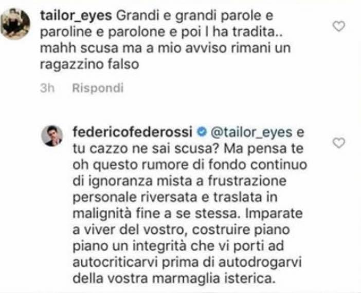 Federico Rossi sbotta (poi cancella tutto) contro chi gli di